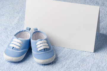 Blank cards with booties in blue birthday
