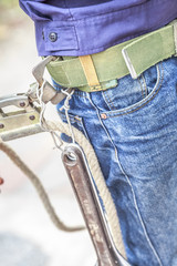 people  bear wrench waist belt tolls hold rope for hike build