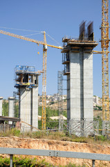 Massive bridge supports  in construction stage in Jerusalem.