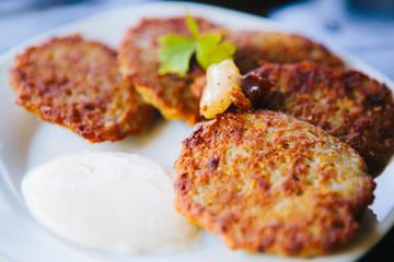 "Potato pancake ""dranik"" with sauce, traditional Ukrainian dish"