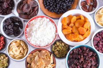 Assortment of dried fruit in individual dishes