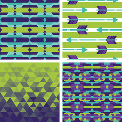 Set of geometric and tribal backgrounds