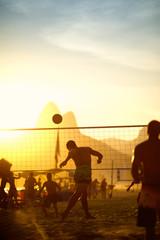 Brazilians Playing Beach Footvolley Rio de Janeiro Brazil Sunset