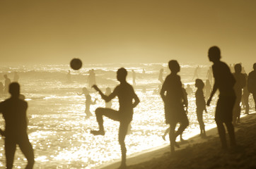 Brazilians Playing Beach Football Altinho Keepy Uppy Soccer Rio