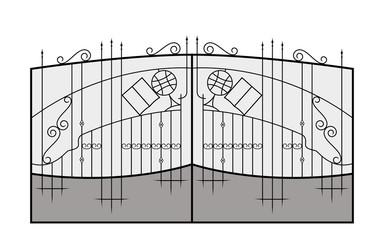 Iron gate. Architecture detail. Vector EPS10.