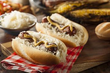 Homemade Bratwurst with Sauerkraut