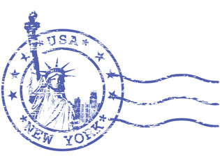 Shabby stamp with Statue of Liberty - sights of New York