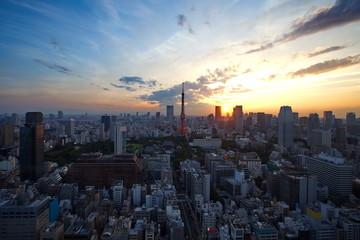 Keuken foto achterwand Tokyo Tokyo skyline at central of tokyo in night time