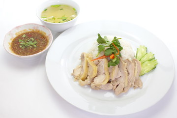 Chicken rice set with soup and sauce