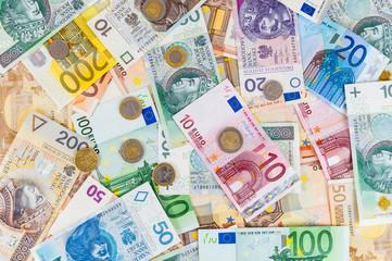 Euro and polish zloty background