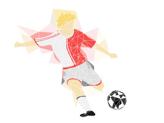 red dress soccer player shooting in triangle design vector