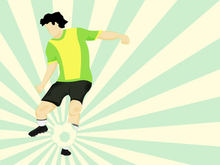 brazil dress footballer shooting on striped background vector