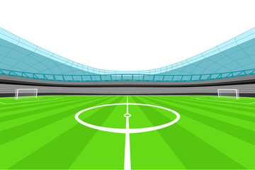 stadium midfield view with clear white sky vector