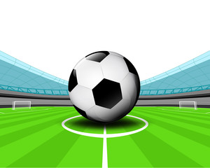 soccer ball in the midfield of football stadium vector