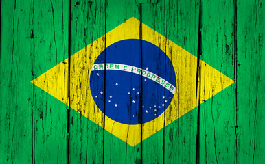 Brazil Flag Wood Background