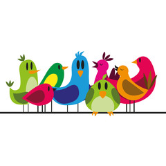 Tuinposter Vogels, bijen Vector Cute Cartoon Group Of Different Birds On A Cable