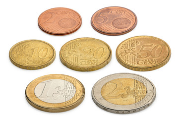 Coins of euros and eurocents isolated on a white background