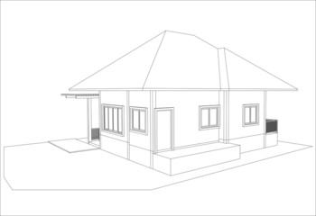 sketch design of house,vector/This image is a vector illustratio