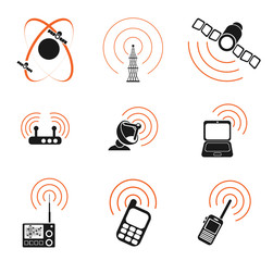 Radio signal simple vector icons