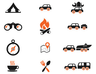 Tourism and Car Travel Icons