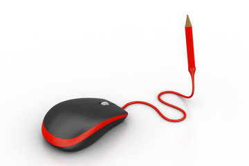 Computer Mouse with pencil plug