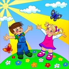 The illustration of happy cartoon kids