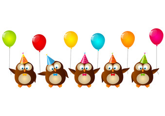 Birthday owls with color balloons