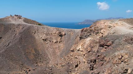 Wall Mural - Crater of volcano Nea Kameni in Santorini