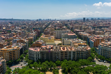 Aerial view of the Eixample district in Barcelona, Spain