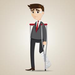 cartoon broken leg businessman with crutch