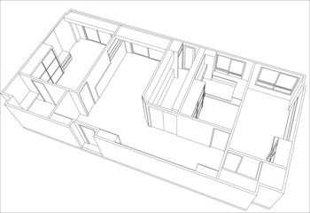 top view of room  ,vector