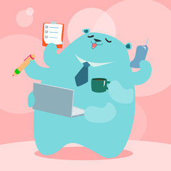 officer bear love to operate at happy work place illustration