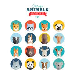Flat Style Animals Avatar Vector Icon Set