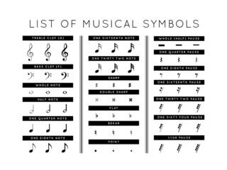 set of musical symbols