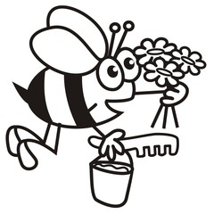 bee and flowers - coloring book
