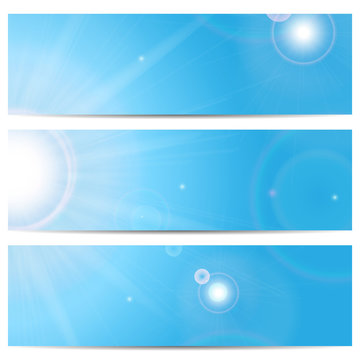 Set of banners with blue sky and sun with space for your text