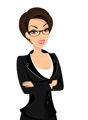 Business woman is wearing black suit isolated on white