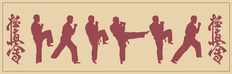 Illustration, set of images of the man of engaged karate