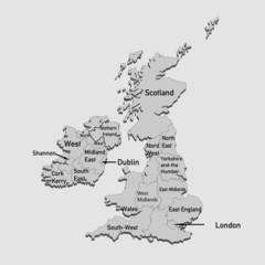 Britische Inseln in grau