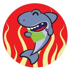 Cartoon shark eating  fried seaweed