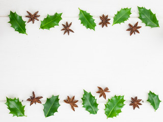 holly leaves and christmas  spices