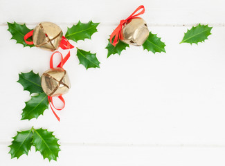 holly leaves  and sleigh bells