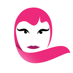 Vector logo portrait of woman in pink