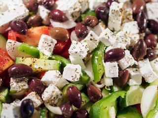 Fresh Greek salad at the restaurant