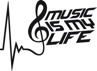 Music Is My Life Musiknote Puls Herzschlag
