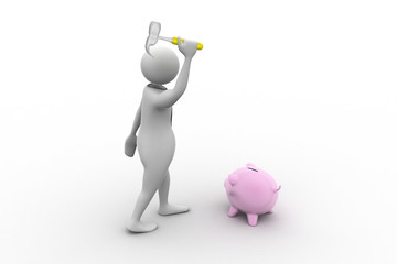 business person and piggy bank with a hammer