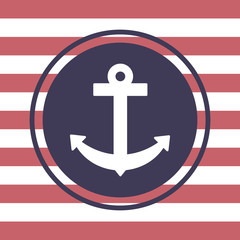 White anchor. Striped background