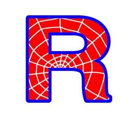 R letter - spider web alphabet