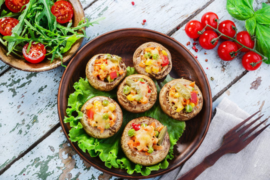 stuffed mushrooms baked with vegetables