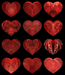 set of 12 abstract hearts with textured  inners